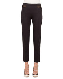 Stretch-Poplin Pants w/Mesh Insets, Black