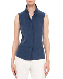 Sleeveless Button-Front Top, Blue