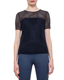 Short-Sleeve Grid Lace Top, Navy
