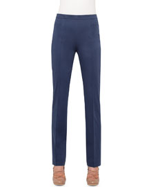Francesca Straight-Leg Stretch-Cotton Pants, Denim