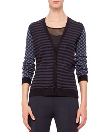 Striped Cardigan w/Polka-Dot Sleeves, Indigo/Denim