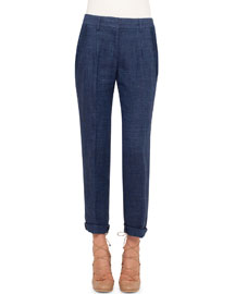 Mia Slim-Leg Cropped Pants, Denim