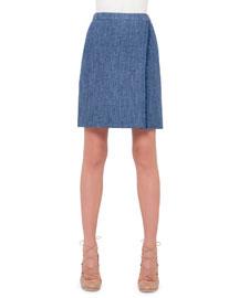 Flared Linen Faux-Wrap Skirt, Bleached Denim