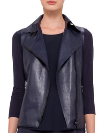 Perforated Napa Leather Moto Vest, Navy