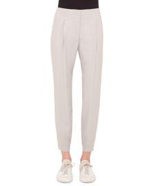 Mimi Cropped Pants W/Elastic Cuffs, Silver