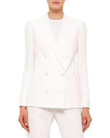 Double-Breasted Crepe Jacket, Cream