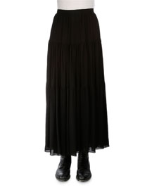 Tiered Voile Maxi Skirt, Black