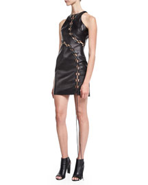 Open-Laced Leather Mini Dress, Black