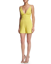 Sleeveless V-Neck Crepe Jumpsuit, Lime