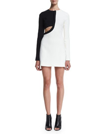 Long-Sleeve Bicolor Crepe Mini Dress, White/Black