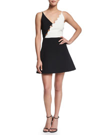 Bicolor Crepe Fit-and-Flare Dress, Black/White