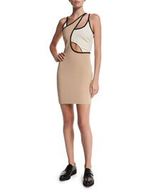Tricolor Cutout Mini Dress, Nude/Ivory/Black