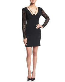Macrame-Sleeve Cady Mini Dress, Black