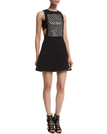 Sleeveless Embellished Cady Dress, Black