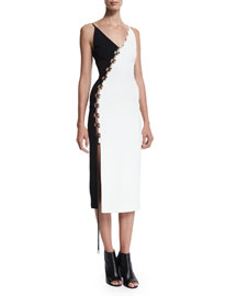 Sleeveless Bicolor Crepe Lace-Up Dress, Black/White