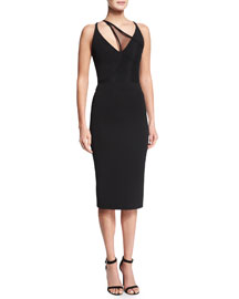 Asymmetric Mesh V-Neck Sheath Dress, Black