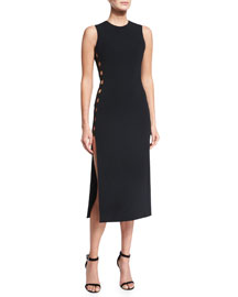Sleeveless Cady Cutout Midi Dress, Black