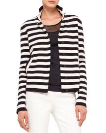 Striped Knit Stretch-Wool Jacket, Navy/White