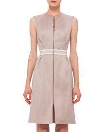 Sleeveless Stretch-Cotton Zip-Front Dress