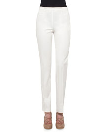 Francesca Slim-Leg Pants, Cream
