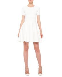 Short-Sleeve Dot-Print Dress