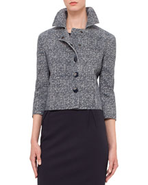 3/4-Sleeve Printed-Tweed Snap Jacket, Navy