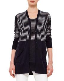 Half-Striped Knit Cardigan, Navy/Cream