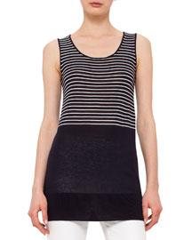 Sleeveless Half-Striped Top, Navy/Cream