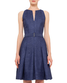 Sleeveless Split-Neck Silk Dress, Denim