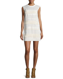 Tech-Lace Sleeveless Shift Dress, Off White