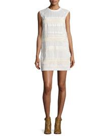 Tech-Lace Sleeveless Shift Dress, Off White