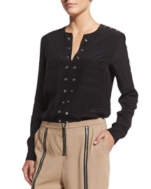 Grommet-Trim Tunic Blouse, Black