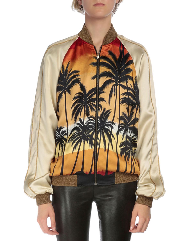 Saint Laurent Palm-Tree Bomber Jacket, Multi Colors, Women's, Size: 34
