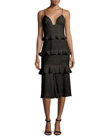 Sleeveless Tiered-Eyelet Bustier Dress, Black