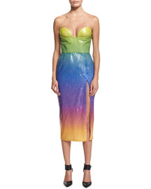 Sequined Ombre Bustier Midi Dress, Tropical