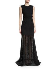 Sleeveless Eyelet Mermaid Gown, Black