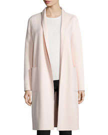 Shawl-Collar Wool-Blend Robe Coat
