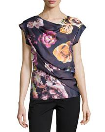 Floral-Print Drape-Neck Top