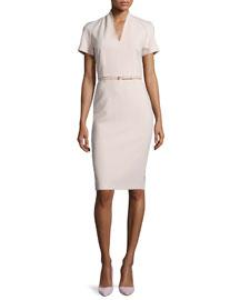 Curvato Split-Neck Stretch-Wool Short-Sleeve Dress