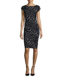 Spoleto Cap-Sleeve Sheath Dress, Ultramarine