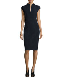 Doppio-Pinstriped Split-Neck Sheath Dress