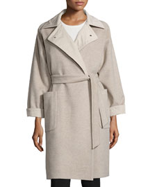 Reversible Cashmere Wrap Coat, Beige