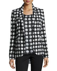 Floral-Print Notched-Collar Jacket, Black