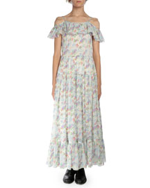Floral-Print Silk Cutaway-Shoulder Maxi Dress