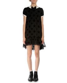 Short-Sleeve Burnout-Star Dress, Black