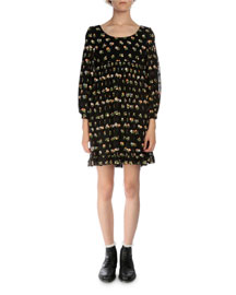 Floral-Print Empire-Waist Silk Dress, Black/Multi
