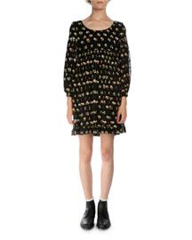 Floral-Print Empire-Waist Silk Dress, Black/Multi