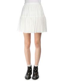 Tiered Full Mini Skirt, White