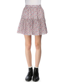 Floral-Print Tiered Mini Skirt, Red/Blue