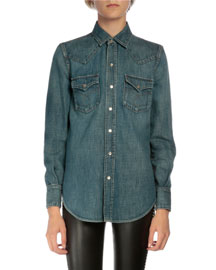 Denim Snap Down Shirt